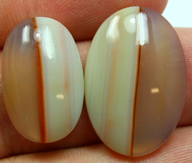 32.95 CTS 2 STONES BANDED AGATE CABOCHON STONE TWO TONE