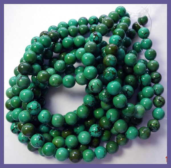 STABILIZED 8.00MM CHINESE TURQUOISE ROUND BEADS-FABULOUS!