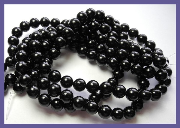 AAA 8.00MM BLACK ONYX SMOOTH ROUND BEADS-GREAT LUSTRE!!