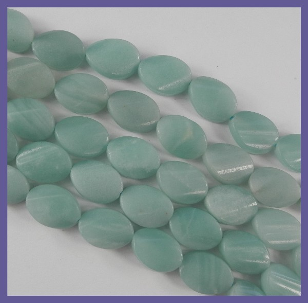 STYLISH NATURAL AMAZONITE 10.00X14.00MM TWISTED OVAL BEADS!!