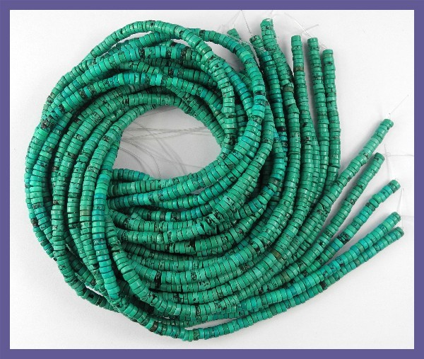 STUNNING 2.00X4.00MM STABILIZED TURQUOISE HEISHI BEADS!!