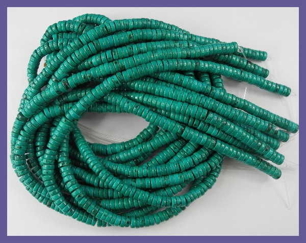 STUNNING 3.00X6.00MM STABILIZED TURQUOISE HEISHI BEADS!!