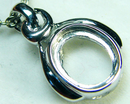14K WHITE GOLD PENDANT POLISHED FINIDING MY208ml