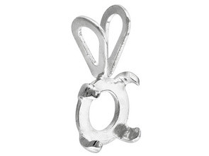 CABOCHON CASTING 5 MM ROUND 4 PRONG STERLING SILVER PENDANT