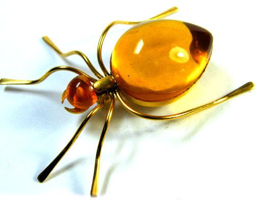 RUSSIAN AMBER HONEY BEE BROOCH 14K GOLD GWE 81-1
