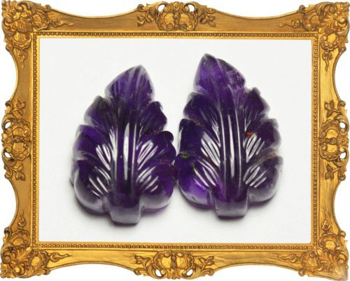 Pair Amethyst carved leaves 25.3 mm 49.98cts