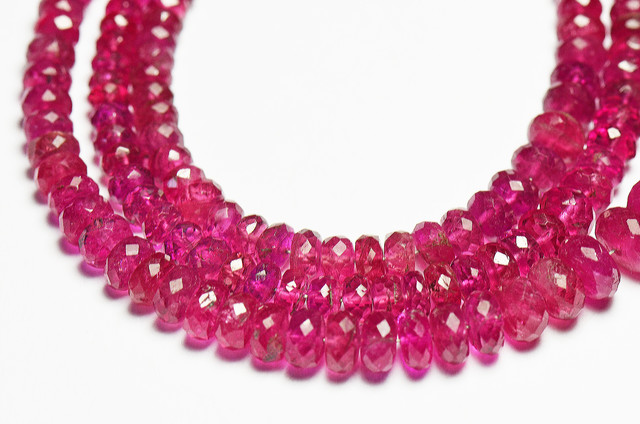 2.5 to 5.5mm AAA Rubellite Pink gemstone beads 16in line