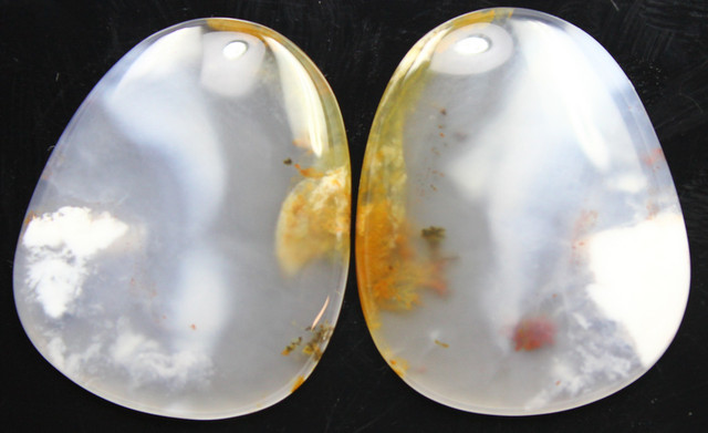 30.90 CTS DENDRITIC AGATE PAIR OF POLISHED STONES