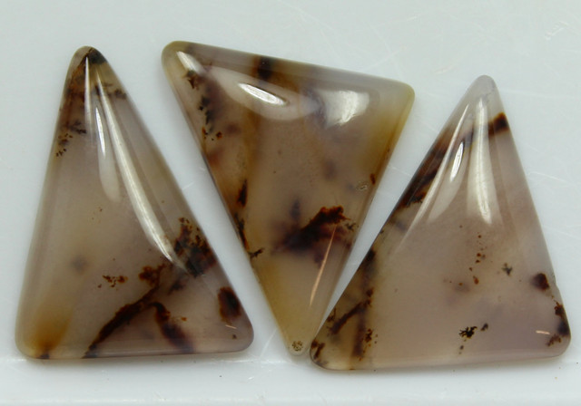 17.25 CTS DENDRITIC AGATE PARCEL 3 POLISHED STONES