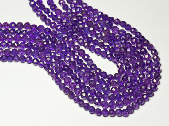"""AA African Amethyst 4mm 14"""" line faceted beads AM001"""