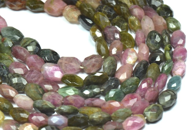 "9 to 10mm WATERMELON TOURMALINE  faceted beads 13.5"" tou011"