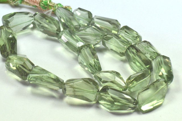 """16"""" line 20 - 23mm AAA irregular cut Prasiolite green beads"""