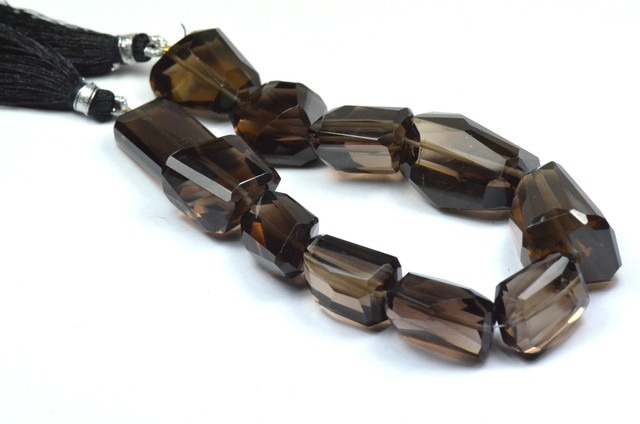"8"" half line of 25 to 18mm AAA irregular Smokey Quartz beads"