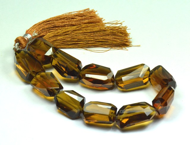 "20 to 23mm Vintage Cognac Quartz AAA facet beads 8"" line"