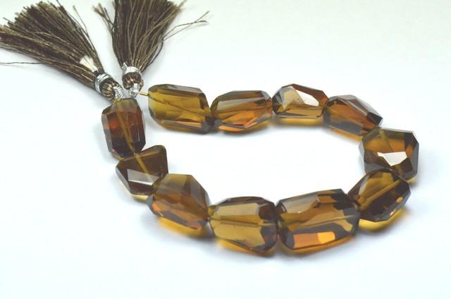 20 to 22mm Vintage Cognac Quartz AAA facet beads 8