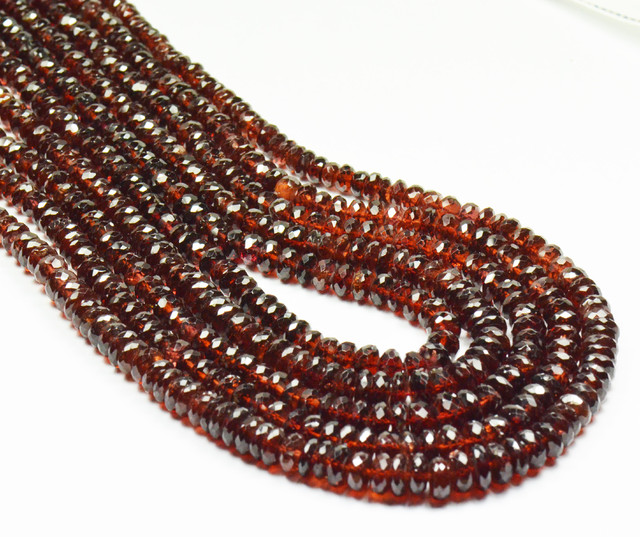 "AAA MOZAMBIQUE GARNET beads 14"" line 5 to 7mm grmz02"