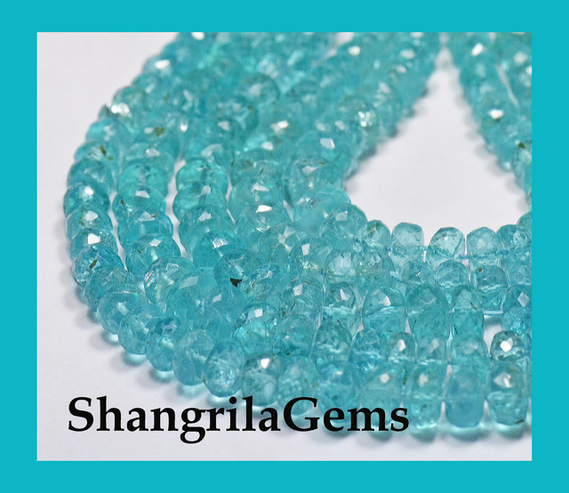 "6mm - 5mm APATITE faceted beads 14.5"" line AAA  AP011"