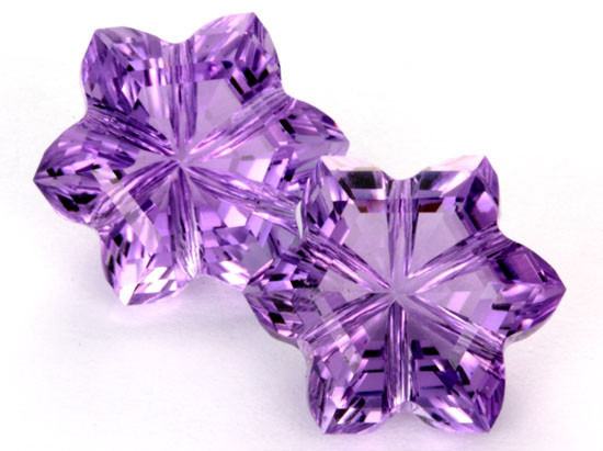 15.39 CTS AMETHYST FLOWER CARVING PAIR  -BRAZIL [AME7]