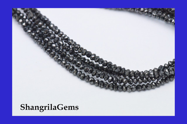 One line 1.5mm to 2mm Black Diamond beads 15.25