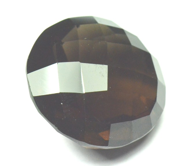 22mm Round Smokey Quartz faceted gemstone 22mm by 13.5mm