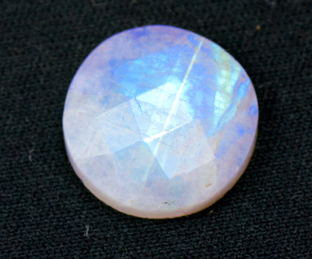 18mm faceted Rainbow moonstone cabochon 18mm by 5mm deep