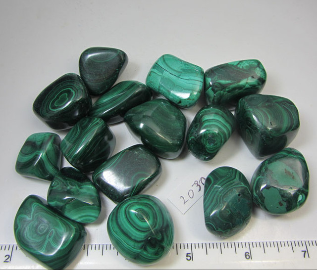 0.434 GRAMS  16PIECES   CONGO  MALACHITE TUMBLED  MS 2030