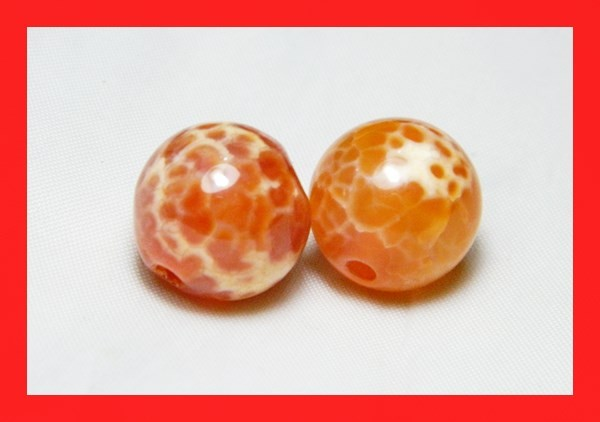 39cts 14mm Natural Brazil Fire Agate Beads Z604