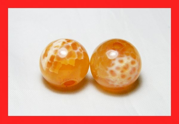 35cts 14mm Natural Brazil Fire Agate Beads Z610