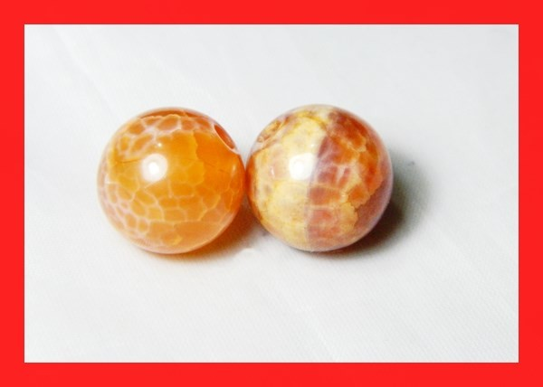 39cts 14mm Natural Brazil Fire Agate Beads Z615