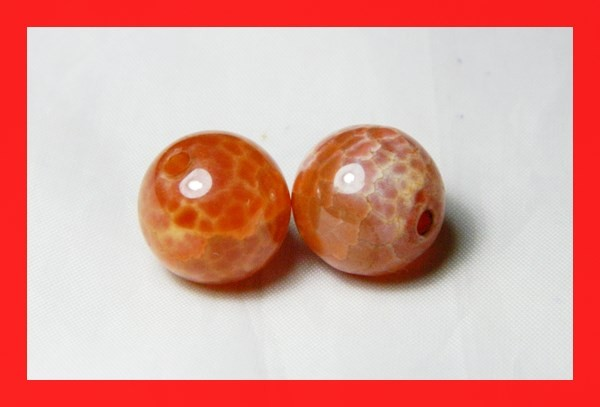 40cts 14mm Natural Brazil Fire Agate Beads Z627