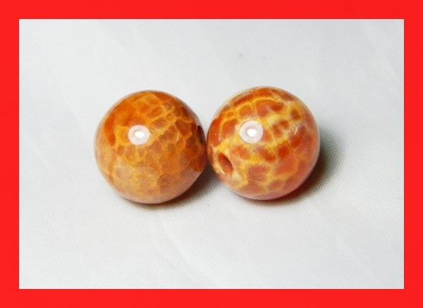 39cts 14mm Natural Brazil Fire Agate Beads Z628