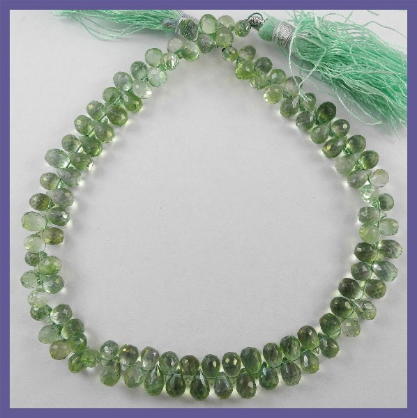 AAA 4X6-5X7MM GREEN MYSTIC QUARTZ FACETED BRIOLETTE DROPS!!