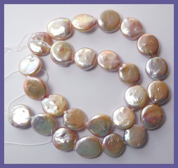 QUALITY MAUVE FRESHWATER 13-14.00M COIN PEARLS-FABULOUS LUSTRE!!