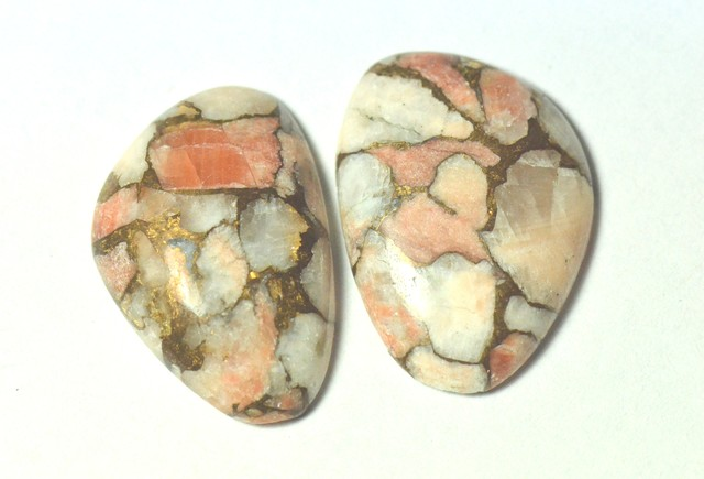 pair of mojave calcite pink peach orange cabochon 27mm