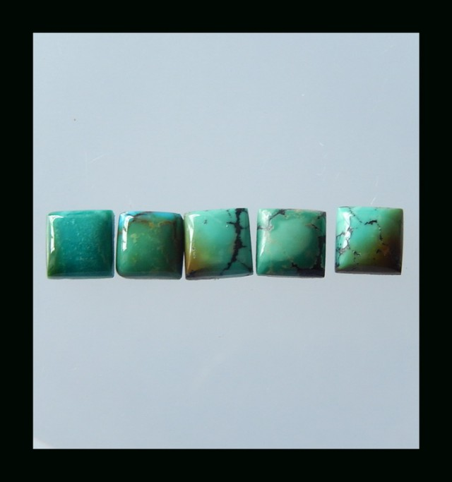 P0479 - 8cts 5PCS Lucky Turquoise, Handmade Gemstone, Turquoise Cabochons,
