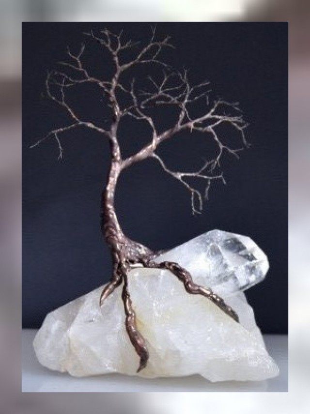 A BEAUTIFUL TREE OF LIFE RESTING ON A CLUMP OF 100% ROCK CRYSTAL