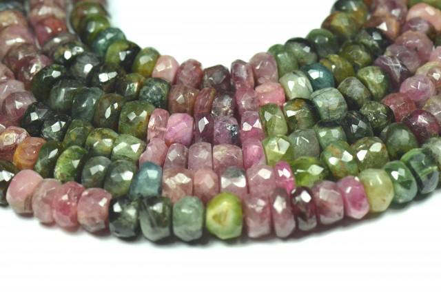 "NEW 7 to 8mm 7"" line Watermelon Tourmaline beads. TOU002"