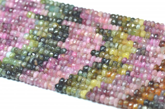 "5mm 14"" line Watermelon Tourmaline beads. TOU003 NATURAL AND UNTREATED"