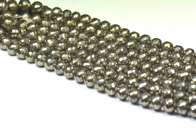 "NEW 10mm 4"" line PYRITE faceted round beads PYR001"