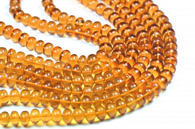 "NEW 8"" line 6 TO 7MM MADEIRA CITRINE smooth beads CITM001"