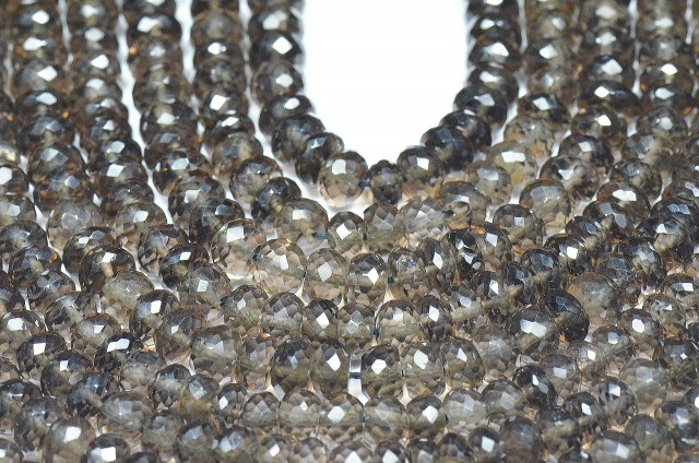 "SALE Smokey Quartz 6mm roundelle faceted beads 8.5"" smk002"