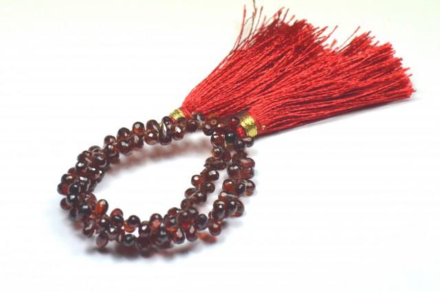 "NEW 9"" line 5/6mm Red Garnet Briolettes 100/110 gems GARB002"