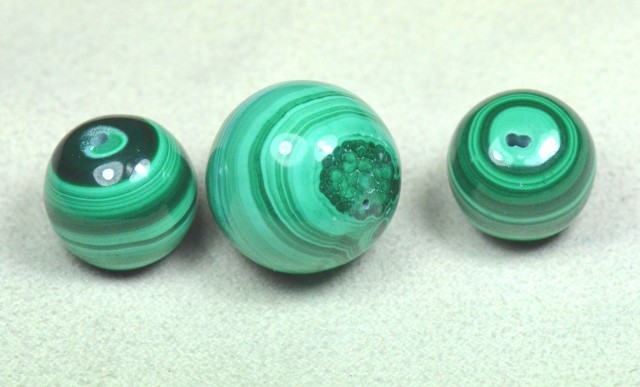 NEW  MALACHITE beads 14 to 18mm set of three matching!