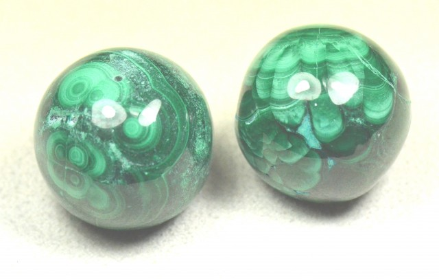 reserved NEW Set of two large 21mm MALACHITE beads