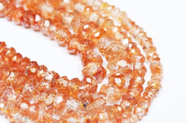 """2mm - 3mm 16"""" ZIRCON faceted orange beads ZIR002"""