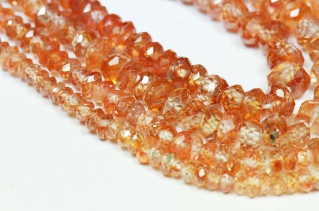 """3mm - 5mm 7.5"""" ZIRCON faceted orange beads ZIR001"""