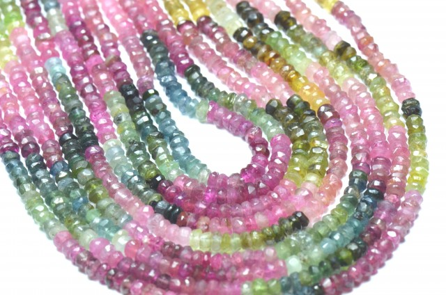 "NEW 14"" 3 - 4mm Watermelon Tourmaline faceted beads TOU005"