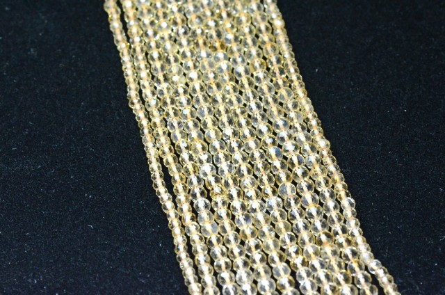 Sale of one line of 3mm Citrine golden round faceted beads CIT006 14in line