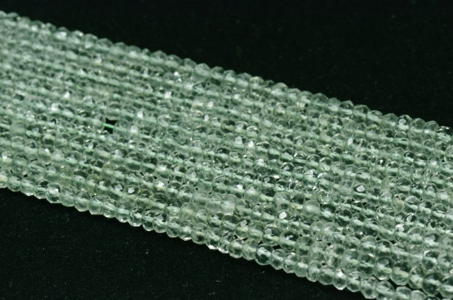 """NEW 4mm Green Amethyst 14"""" faceted roundelle beads AMG001"""