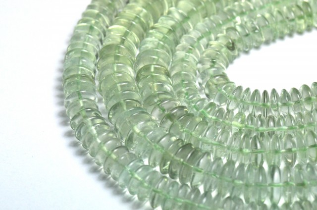 "NEW IN  7-8mm 10"" AAA Prasiolite roundelle beads AMG002"
